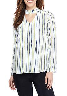 Petite Long Sleeve Stripe Choker Blouse