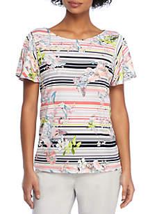Printed Flutter Sleeve Blouse