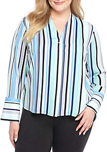 Plus Size V-Neck Bell Sleeve Blouse