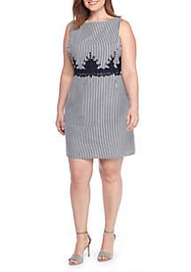 Plus Size Two Sided Border Stripe Dress