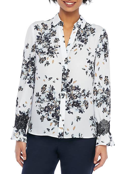 Petite Printed Fluid Lace Crepe Shirt