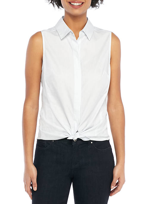 THE LIMITED Petite Cotton Sleeveless Button-Down Shirt