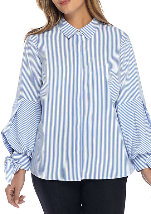 THE LIMITED Plus Size Stripe Puff Sleeve Cotton