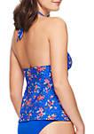 Blue Water Bouquet Reversible Swim Tankini Top