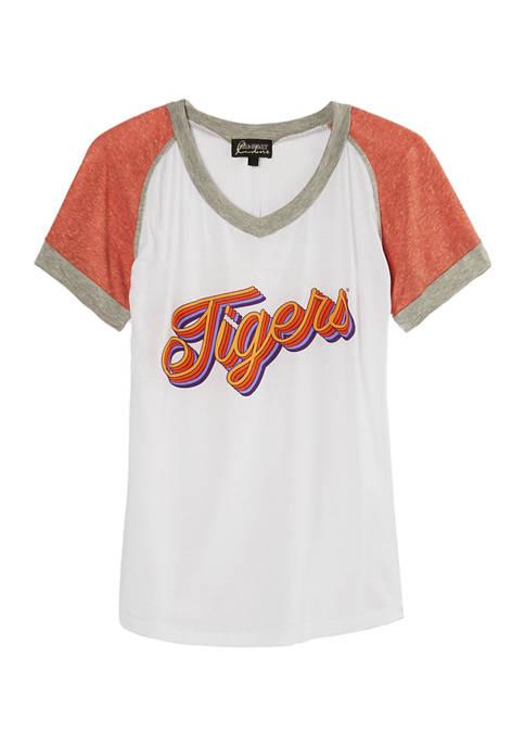 NCAA Clemson Tigers V-Neck Colorblock Sleeve T-Shirt