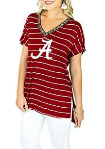 Alabama Crimson Tide Pin Stripe V-Neck Beaded Short Sleeve Tee