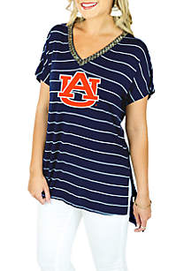 Auburn Tigers Pin Stripe V-neck Beaded Tee