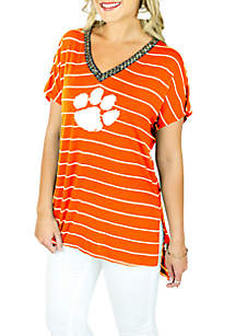 Clemson Tigers Striped V-neck Beaded Short Sleeve Tee