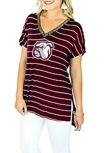 Mississippi State Bulldogs Pin Stripe V-Neck Beaded Short Sleeve Tee