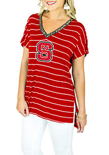NC State Pin Stripe V-Neck Short Sleeve Beaded Tee