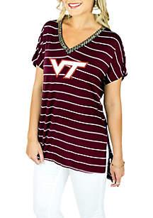 VT Pin Stripe Beaded V-Neck Short Sleeve Tee