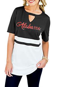 Alabama Crimson Tide Top Notch Jersey Keyhole Short Sleeve Blouse