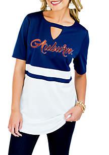 Auburn Tigers Top Notch Jersey Keyhole Short Sleeve Blouse