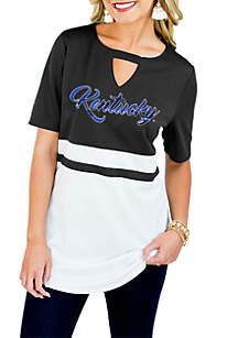 Kentucky Wildcats Top Notch Jersey Keyhole Short Sleeve Blouse