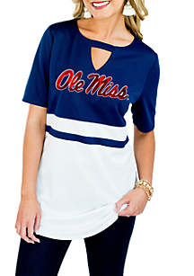 Ole Miss Rebels Top Notch Jersey Keyhole Short Sleeve Blouse