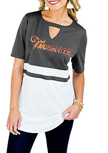 Tennessee Volunteers Top Notch Jersey Keyhole Short Sleeve Blouse