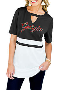 Georgia Bulldogs Top Notch Jersey Keyhole Short Sleeve Blouse