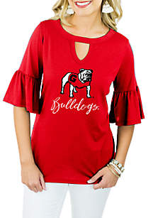 Georgia Bulldogs Ruffle And Ready Top