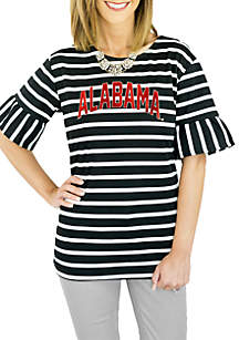 Alabama Striped Saved by The Bell Sleeve Top