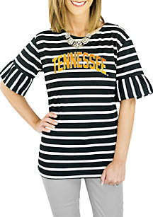 Tennessee Striped Saved by The Bell Sleeve Top