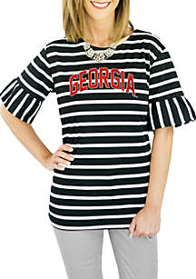UGA Striped Saved by The Bell Sleeve Top