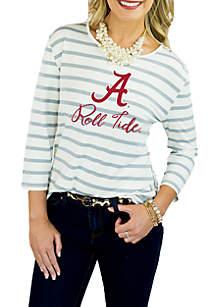 Alabama Crimson Tide Stay A While Striped Peplum Tee