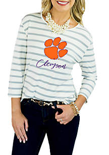 Clemson Stay A While Striped Peplum Blouse