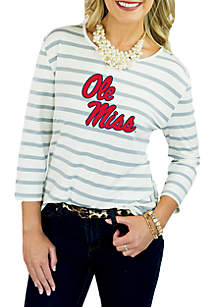 Ole Miss Rebel Striped Peplum Blouse