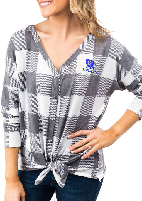 Womens NCAA Kentucky Wildcats Check Your Facts Button Down Tie Top