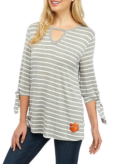 Womens NCAA Clemson Tigers At It Again Striped Keyhole Tie Top