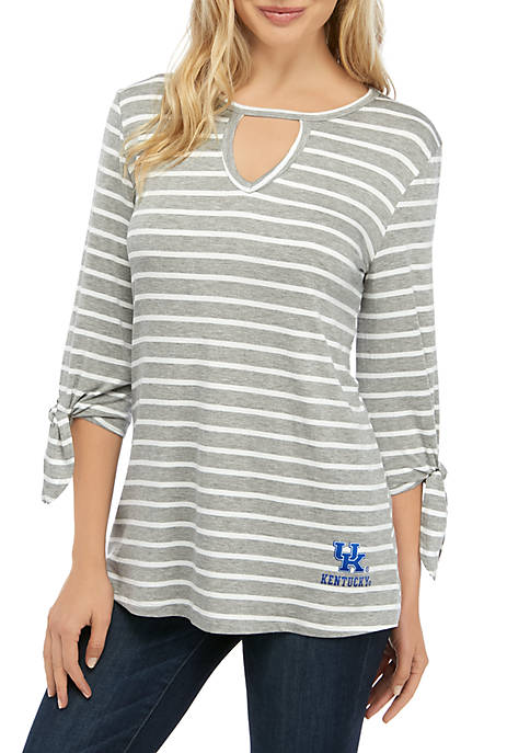 Womens NCAA Kentucky Wildcats At It Again Striped Keyhole Tie Top
