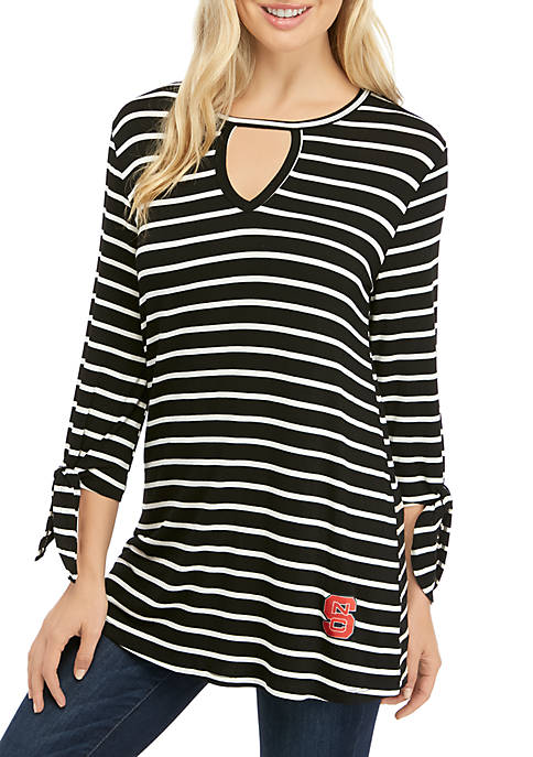 Womens NCAA NC State Wolfpack At It Again Striped Keyhole Tie Top