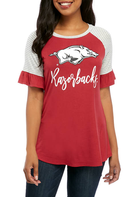 NCAA Arkansas Razorbacks Twist It Up Ruffle Sleeve Top