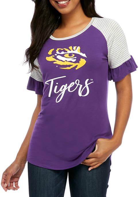 NCAA LSU Tigers Twist It Up Ruffle Sleeve Top