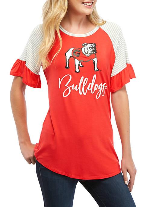 NCAA University of Georgia Bulldogs Twist It Up Ruffle Sleeve Top