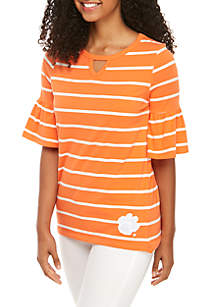 Gameday Couture Clemson Go With The Flow Keyhole Ruffle Sleeve Top