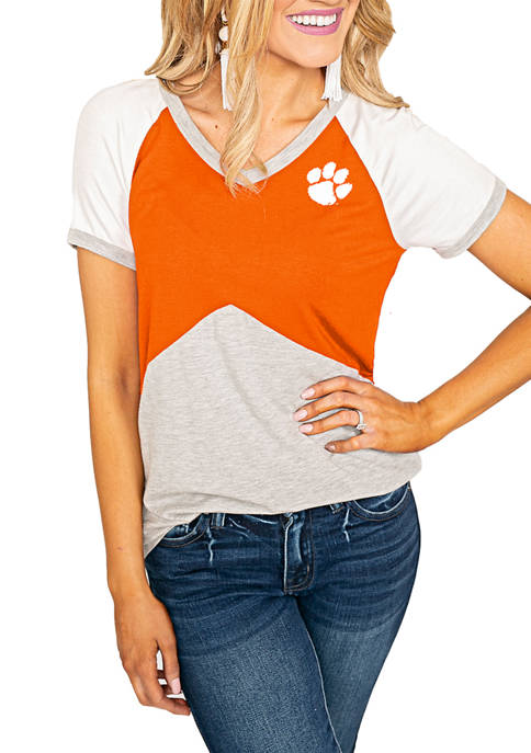 NCAA Clemson Tigers Color Block V-Neck T-Shirt