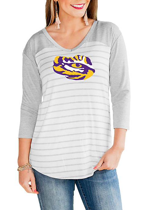 Gameday Couture LSU Tigers V Neck Half Sleeve