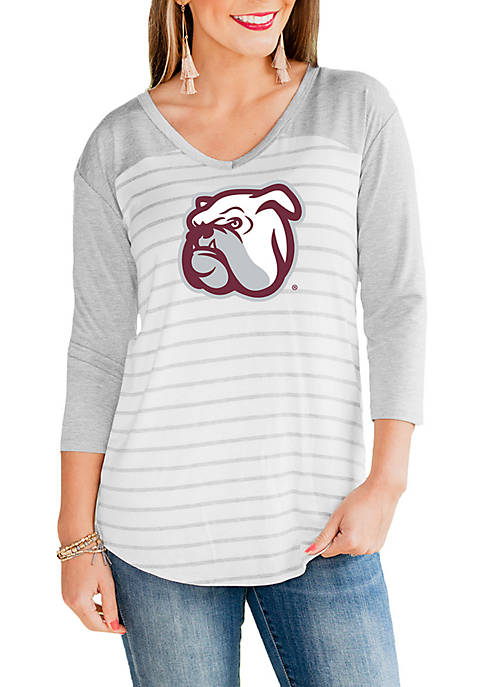 Mississippi State Bulldogs V Neck Half Sleeve Top