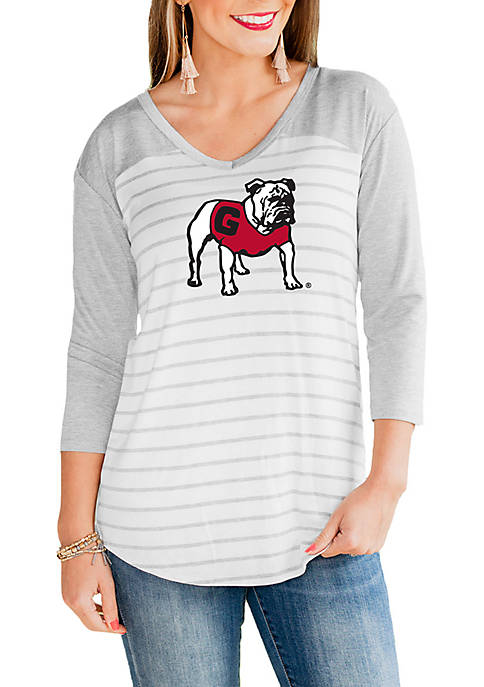 Gameday Couture Georgia Bulldogs V Neck Half Sleeve