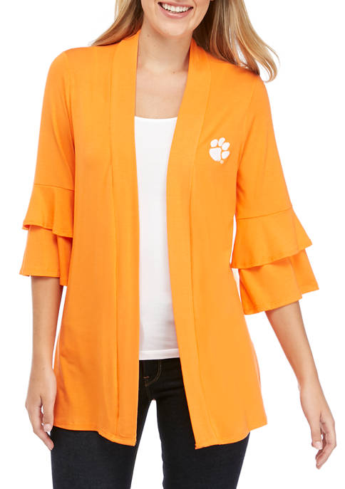 NCAA Clemson Tigers All Wrapped Up Ruffle Sleeve Cardigan