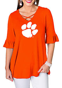 Gameday Couture Clemson Tigers Flowy Flutter Sleeve Top