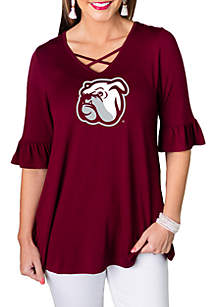 Gameday Couture Mississippi State Bulldogs Flowy Flutter Sleeve Top