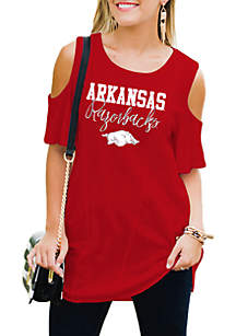 Arkansas Razorbacks Easy Breeze Cold-Shoulder Top