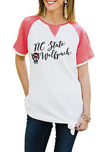 Nc State Wolfpack Believe It Or Knot Raglan Waffle Tee