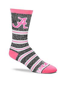 Alabama Crimson Tide Melange Stripe Crew Socks