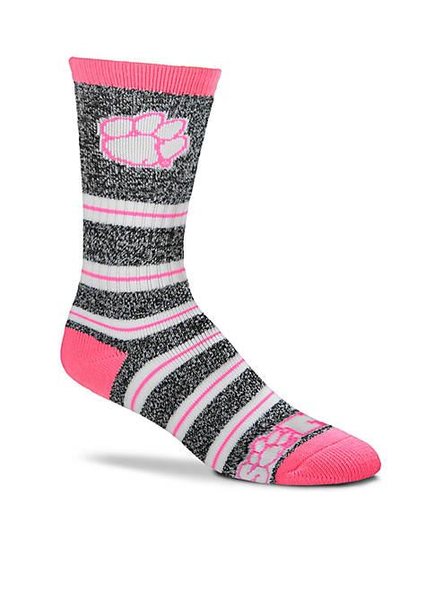 FBF Originals Clemson Tigers Melange Stripe Crew Socks