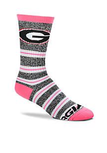Georgia Bulldogs Melange Striped Crew Socks