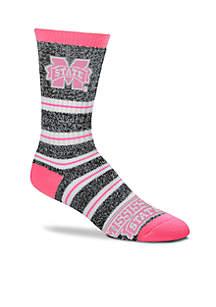 Mississippi State Bulldogs Melange Striped Crew Socks