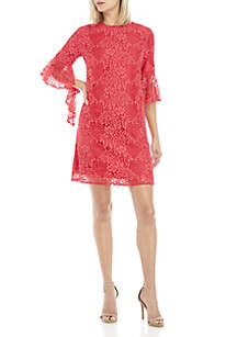 Three-Quarter Bell Sleeve Lace Dress